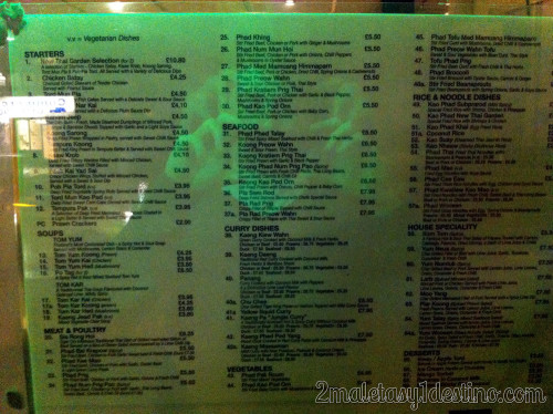 Londres - New Thai Garden - carta 2