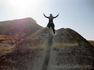 Vanina haciendo cumbre en las montañas de Capadocia