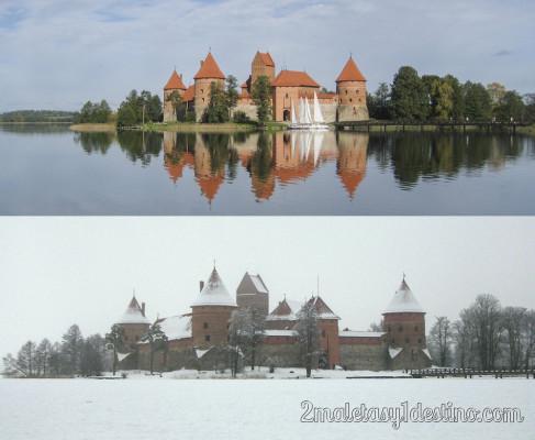 Castillo Trakai en verano e invierno con nieve