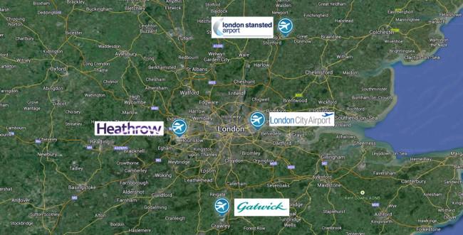Mapa de los Aeropuertos de Londres