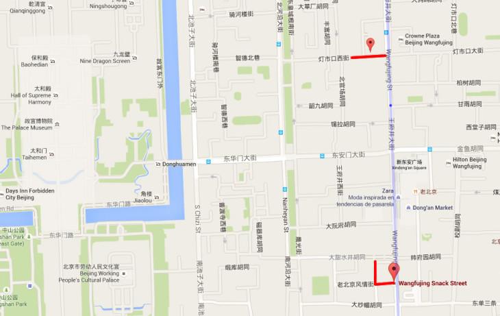 Mapa mercado comida Wangfujing Google Maps