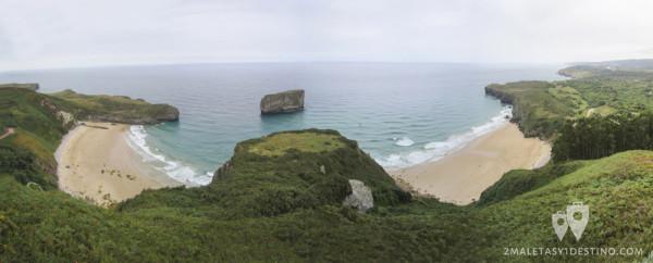 Playas de Ballota y Andrín desde el mirador de La Boriza (Cue - Llanes - Asturias)