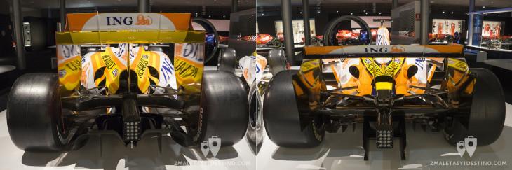 Comparativa trasera de alerones y difusor del Renault R29 y R28