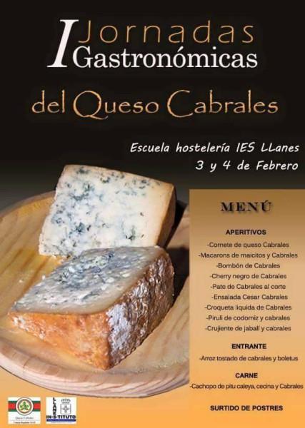 I Jornadas Gastronómicas del Queso de Cabrales - menú