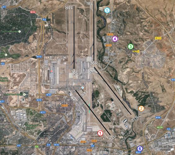 Mapa guía de spotting en el Aeropuerto Madrid-Barajas