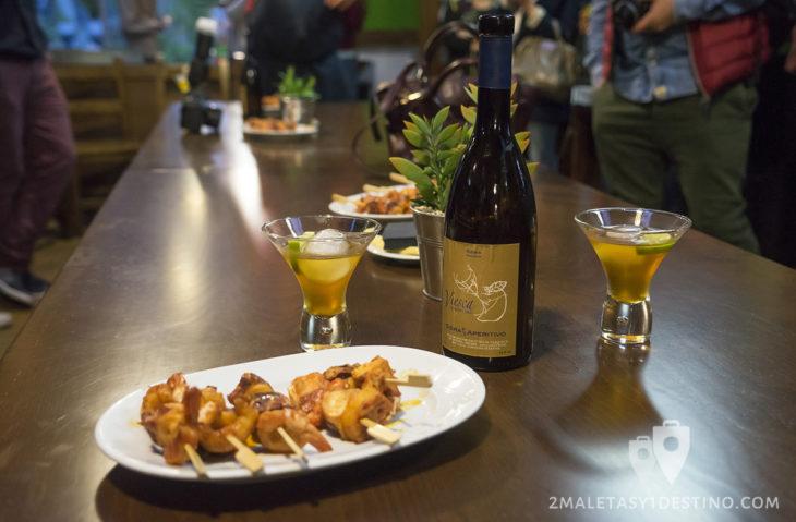 Sidra Panizales - Sidra aperitivo con brocheta marisco