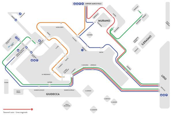 Mapa de las rutas de Alilaguna en Venecia