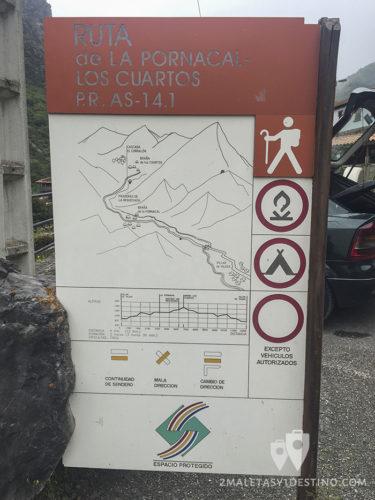 Ruta La Pornacal - Somiedo - Cartel explicativo aparcamiento