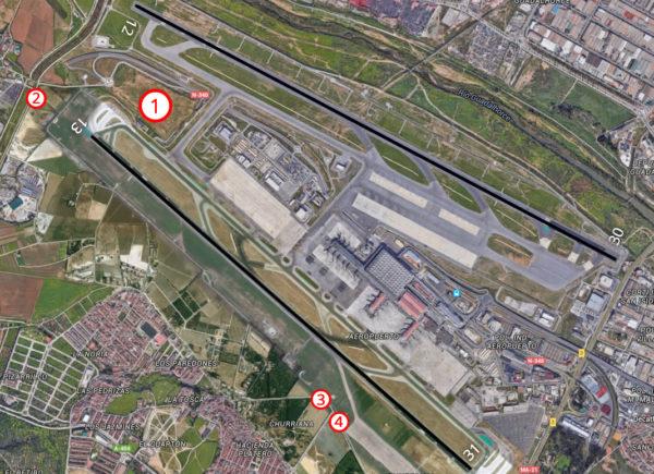 Mapa con puntos de spotting en el Aeropuerto de Málaga