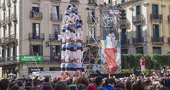 Fiestas de la Mercé - Colles invitadas fomando un casteller