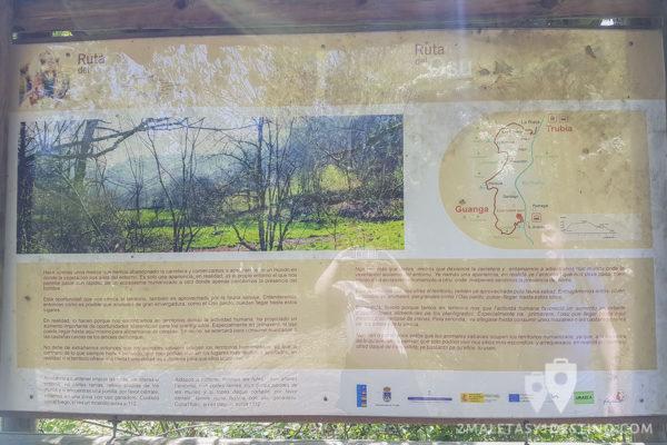 Cartel informativo de Las Cascadas de Guanga