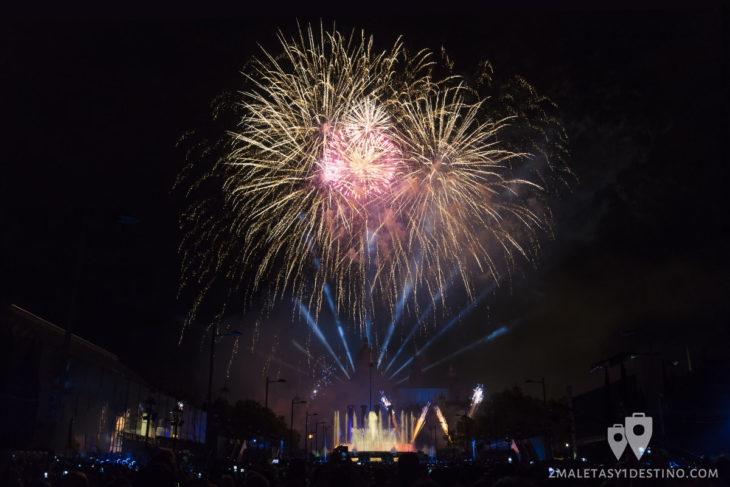 Espectáculo Piromusical Fiestas de la Mercé - palmeras