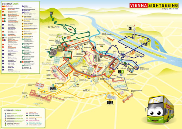 Plano Vienna Sightseeing Bus amarillo